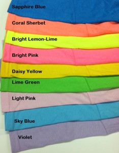 These bright colored shirts sell well.